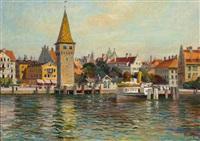 blick über den hafen von lindau mit angelegtem raddampfer auf die promenade vom hotel reutemann bis zum hauptzollamt by franz löffler