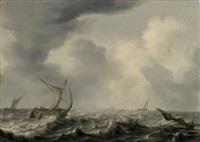 schiffe auf stürmischer see by arnoldus van anthonissen