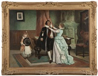 lady and girl dressing a gentleman in an interior by joseph haier