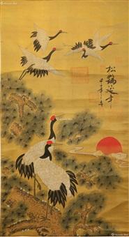 松鹤延年图 by emperor qianlong