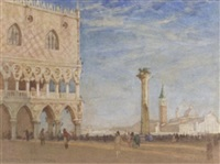 figures on st. mark's square before the doge's palace by walter herbert allcott