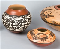 two jars: feather pattern and water serpents by yvonne & steve lucas