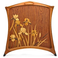 representational marquetry fire screen with irises by silas kopf