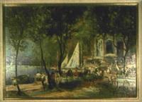 gartenlokal am seeufer mit zahlreichen personen by walter bader