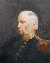 admiral edward (plunkett), 16th baron dunsany, in black double-breasted uniform - rear-admiral of the royal navy - with gold buttons and epaulettes by h.e. grais