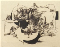 hippopotamus and figures by jack coughlin