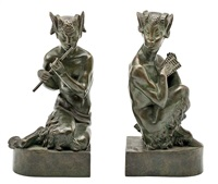 pareja de faunos (2 works) by alfred gilbert