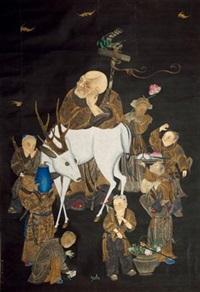 福禄寿图 by qiu ying