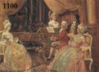 interieur mit musizierenden kavalieren und damen by a. stephan