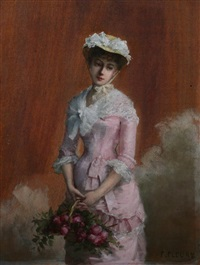 french beauty in pink with basket of roses by fanny laurent fleury
