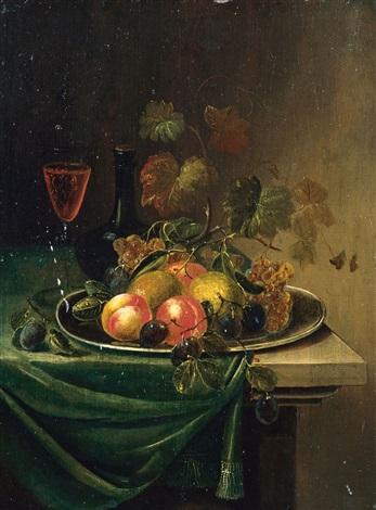 früchtestilleben mit zinntellern, gläsern und glasgefässen (pair) by abraham mignon