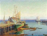 docked boat at wharf side with sailboat on horizon by william greason
