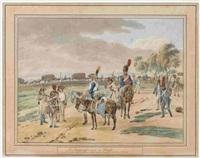 des husards francois qui s'arretent & causent ensemble - des trouppes francoises en marche (2 works after wilhelm von kobell) by adam von bartsch