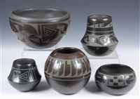 san ildefonso blackware pottery (5 works) by martha appleleaf