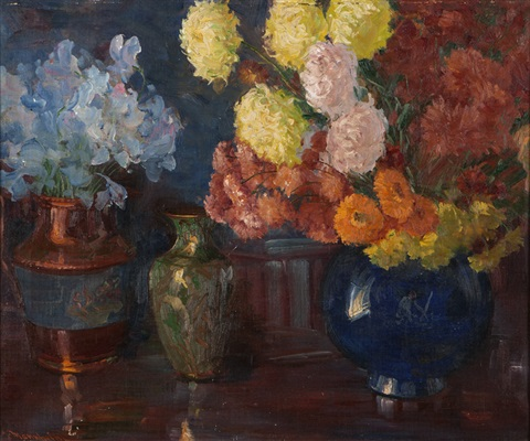 still life with three vases by jean mannheim
