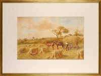 at haytime - harvesters in a field by john atkinson