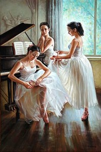 three ballet girls by alexander akopov