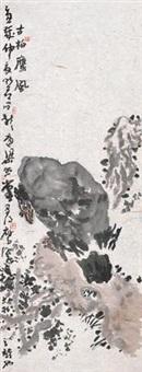 古柏鹰风 镜片 设色纸本 by liang zhaotang
