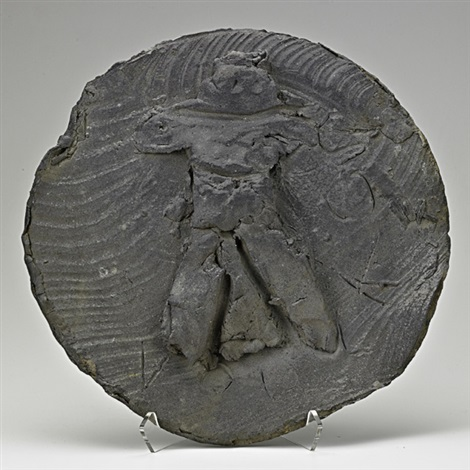 large slab built charger with figure by peter voulkos