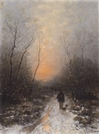 jagdgesellschaft im morgentlichen winterwald by désiré thomassin renardt