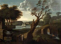 idyllic landscape figures with bridge and ship on a river by michele felice cornè