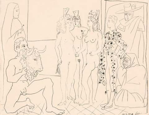 les trois femmes et le torero by pablo picasso