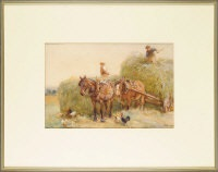 two farmers loading hay onto a cart with poultry in the foreground by john atkinson