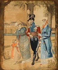 frederick vi and queen marie of denmark in frederiksberg garden with their daughters caroline and wilhelmine by johannes senn