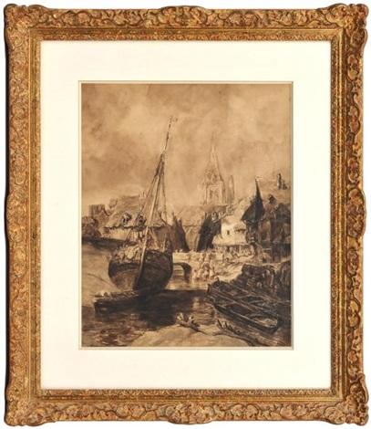voilier dans le port de saint tropez by louis gabriel eugène isabey
