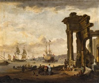 a southern harbour view by johann georg stuhr