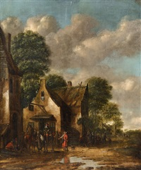figures resting by a tavern by thomas heeremans