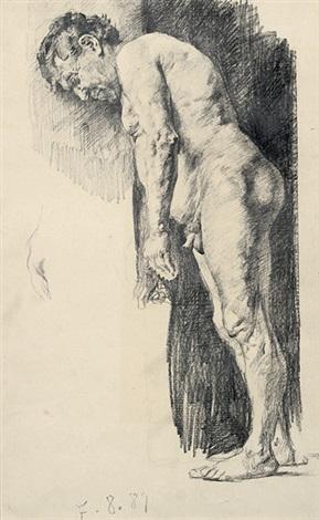 leicht vornüber gebeugter männlicher akt figurenstudie pen ink verso by max slevogt