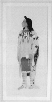 an indian in war shirt and leggings by jerry ingram
