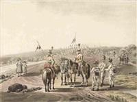 ein kavallerist mit einem handpferd unterhält sich mit einer bäuerin - drei infanteristen besprechen sich mit zwei kavalleristen (2 works after wilhelm von kobell) by adam von bartsch