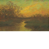 sunset over the water by william merritt post