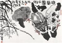 鸽兰图 镜片 设色纸本 by liang zhaotang