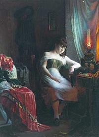 interior med sovende ung kvinde i petroleumslampens skær by christian pram henningsen