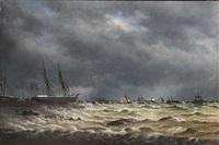 marine med skibe på bedding, uvejrshimmel by peder nielsen foss