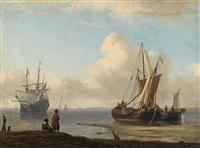 küstenlandschaft mit segelschiff und booten by aernout (johann arnold) smit