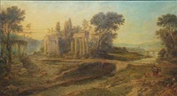 arcadian landscape with ancient ruins by walter herbert roe