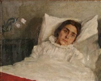 a woman in her bed by johannes cathrine krebs