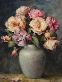 yellow and pink roses in a vase by edgard fievez