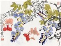 花鸟 镜片 设色纸本 by lin fengsu