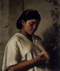 a portrait of a woman holding a posey of flowers by gutierrez
