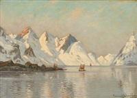 havnø, nordland, lofoten (fiord scene from lofoten in norway) by conrad hans selmyhr