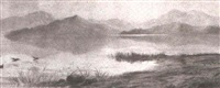 expansive landscape with mountain, lake and waterfowl by t.w. millar