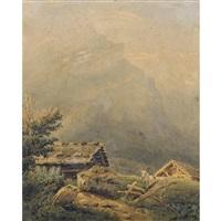 partie in den alpen mit blick auf das oldenhorn by alexandre calame