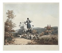 stag hunting (engraved by richard gilson reeve)(set of 4) by dean wolstenholme the younger