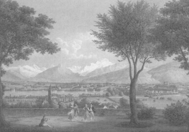 ansicht des mont blanc und der stadt genf aufgenommen vom dorfe saconnex by frédéric fregevize