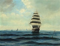 seascape with sailing ships off copenhagen by willy bille